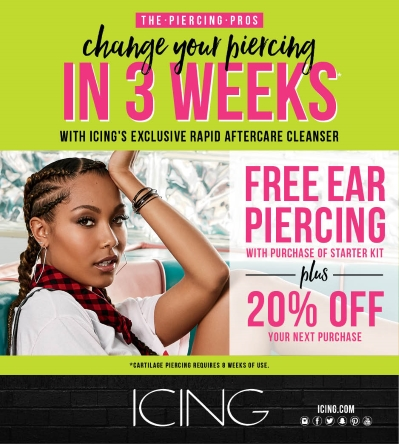 Free Piercing and 20% Off!