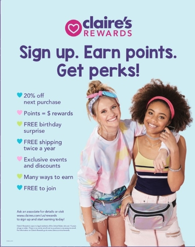 Join Claire's Rewards Today!