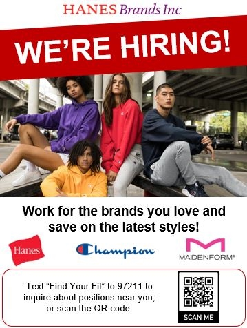 HANES Champion Bali Maidenform Hiring Event