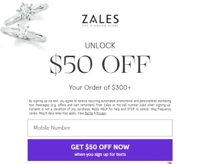 Get $50 Off When You Sign Up For Texts with Zales!