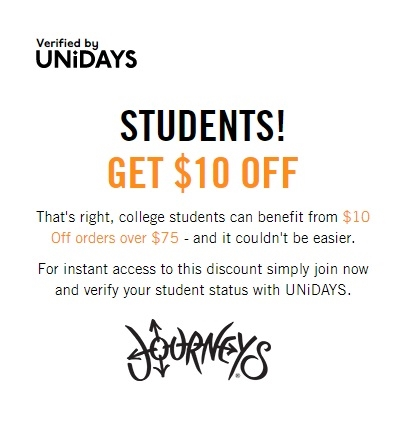 Students Get $10 OFF at Journeys