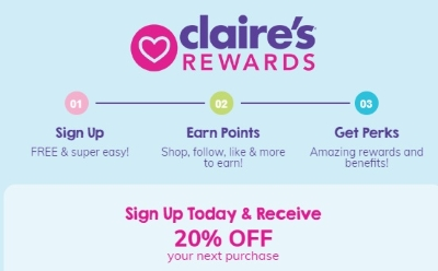 Get 20% off your next purchase at Claire's