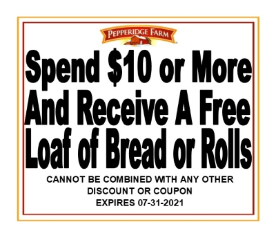 FREE LOAF OF BREAD OR ROLLS