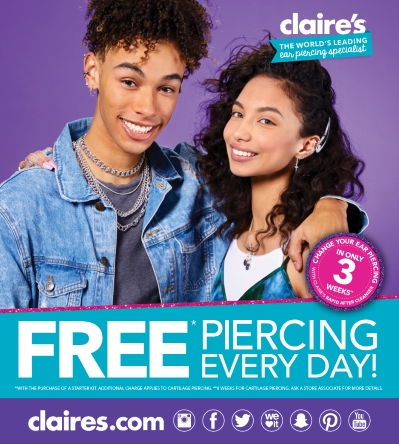 Get your Ears Pierced for FREE!