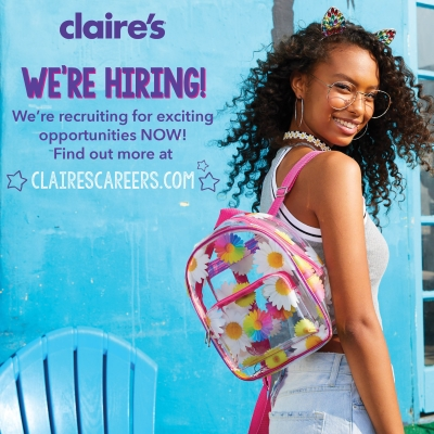 Claire's now hiring!
