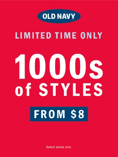 OLD NAVY OUTLET: 1000s OF STYLES FROM $8