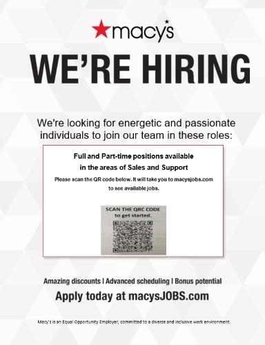 Macy's is Now Hiring!