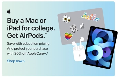 Get AirPods when you buy a Mac or iPad for college