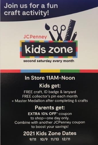 JC Penney kids zone activities.