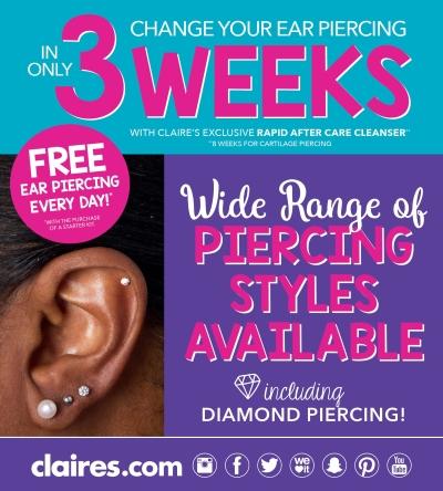 Free Ear Piercings Every Day!