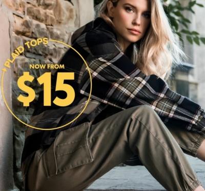 PLAID TOPS: STARTING AT $15
