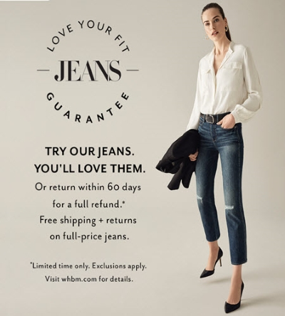 WHBM Love Your Jeans Fit Guarantee Trial