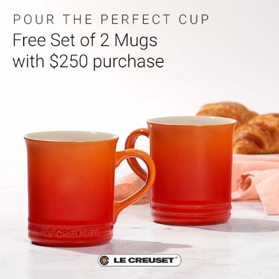 Free Set of 2 Mugs with $250 Purchase