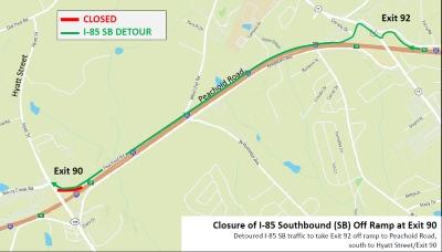 I-85 SB Detour