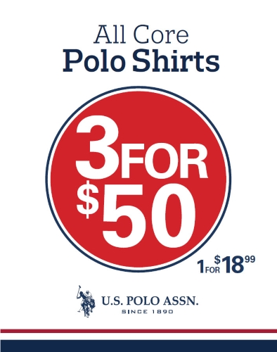 3 For $50 All Core Polo Shirts