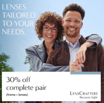 """30% off complete pair (frame + lenses)"""