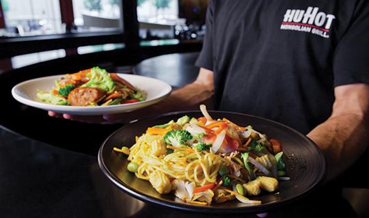 Dining at HuHot Mongolian Grill